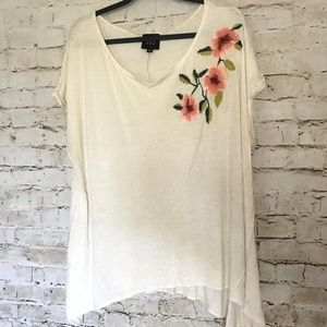 Anthropologie W5 Cream Embroidered Floral Top *EUC